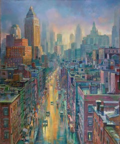 NYC After Storm original city Panorama painting Contemporary art - 21st Century