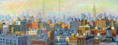 NYC Water tanks Cityscape diptych painting Contemporary Art 21st Century