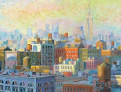 NYC Watertanks I - original cityscape building painting contemporary modern art