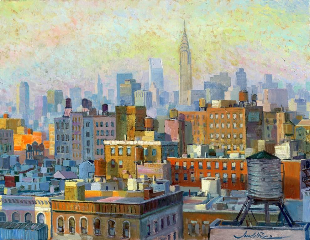 NYC Watertanks  II - original cityscape America oil artwork contemporary modern