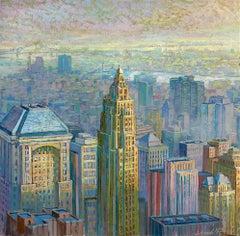 NYC Panorama original city landscape painting