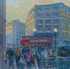 Oxford Street, London - figurative UK cityscape colour Contemporary oil painting