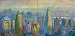 Panoramic Chrysler Diptych Cityscape painting