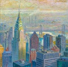 Panoramic Chrysler  original city landscape painting