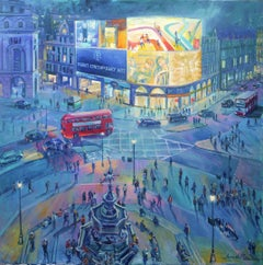 Piccadilly Circus London - original cityscape painting Contemporary 21st Century