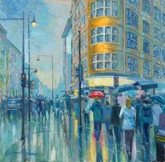 Rainy Days in the City - figurative city landscape oil painting contemporary art