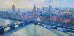 River Thames original city London painting Contemporary art - 21st Century