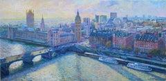 River Thames - original city London painting Contemporary art - 21st Century