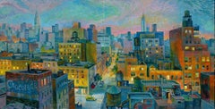 Rooftop Nights - New York original city landscape painting Contemporary Art 21st