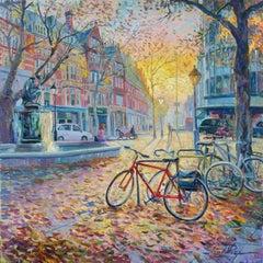 Sloane Square Bikes - original city painting Contemporary art 21st Century