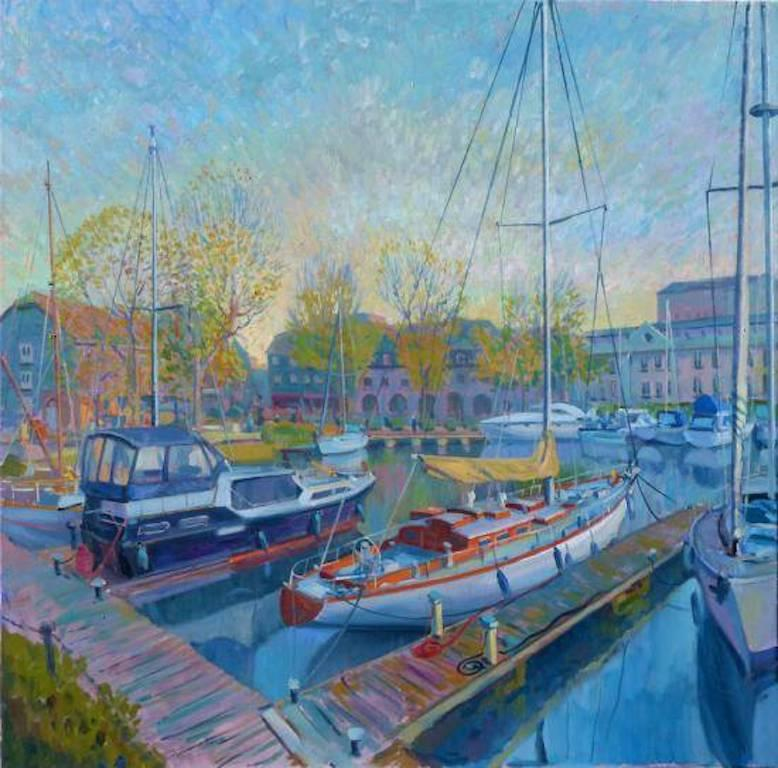 St Katherine Dock - figurative landscape colour Contemporary oil painting