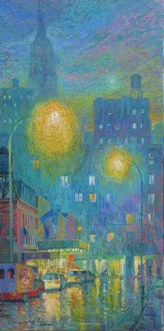 Street Lights New York original city landscape painting Contemporary Art 21st