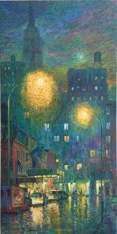 Street Lights New York - original road cityscape night painting Contemporary