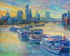 Thames Sunset - original cityscape painting London Contemporary art 21st Century