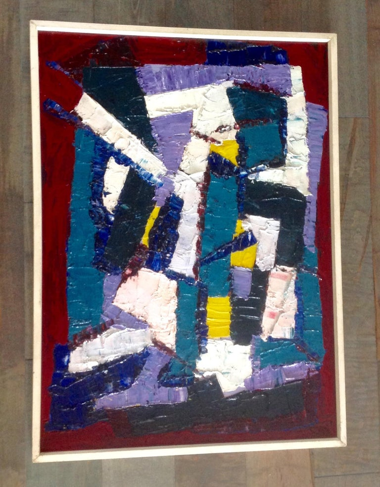 Mid-Century Modern Juan Del Prete Abstract Colorful Painting from 1957 For Sale