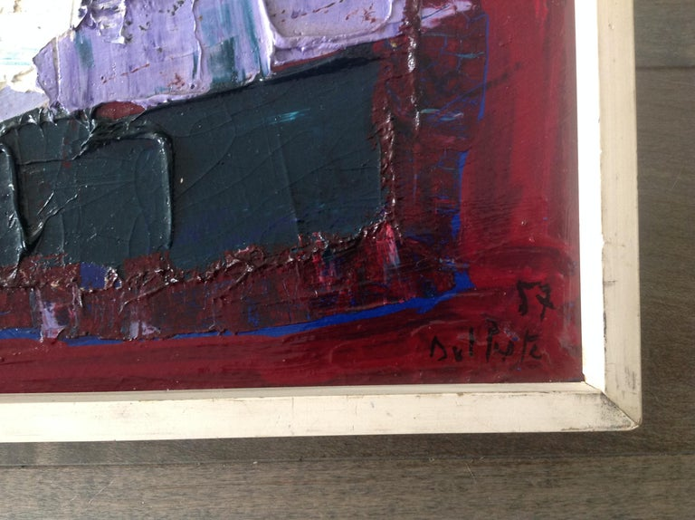 Juan Del Prete Abstract Colorful Painting from 1957 In Good Condition For Sale In Keego Harbor, MI