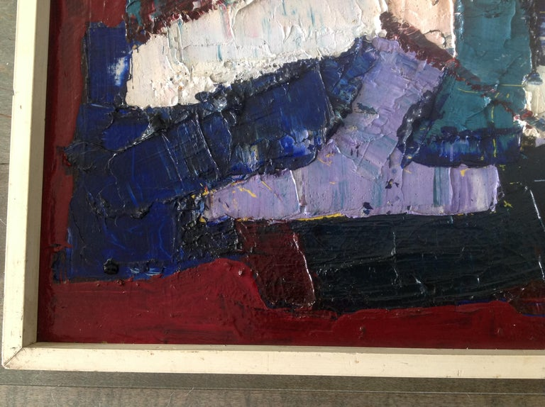 1950s Juan Del Prete Abstract Colorful Painting from 1957 For Sale