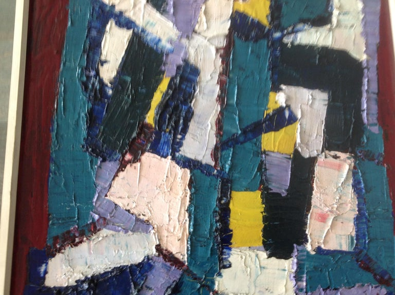 Juan Del Prete Abstract Colorful Painting from 1957 For Sale 1
