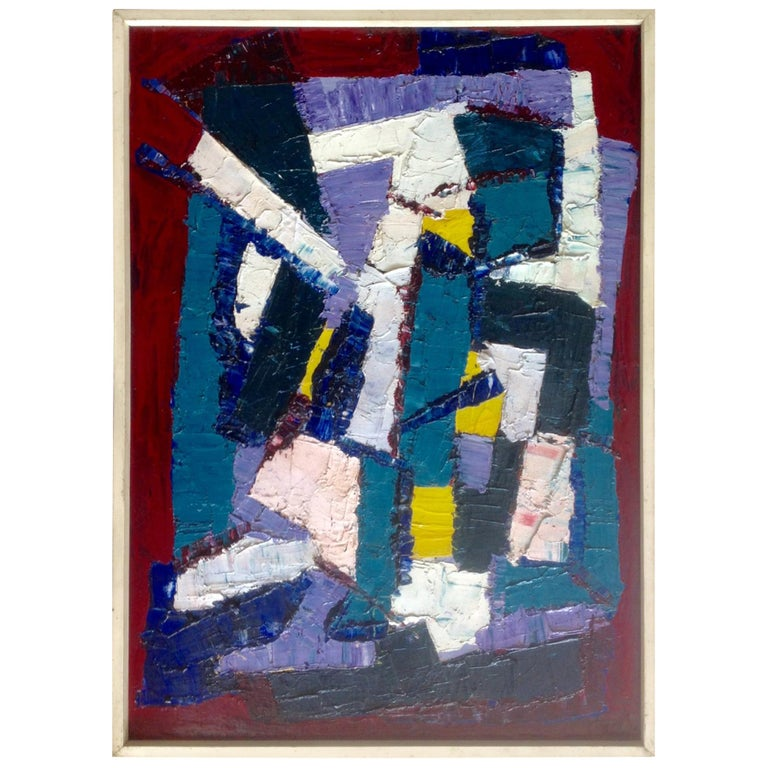 Juan Del Prete Abstract Colorful Painting from 1957 For Sale