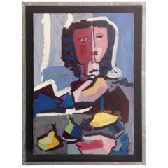 Juan Del Prete Abstract Figural Painting from 1953 in Vibrant Colors
