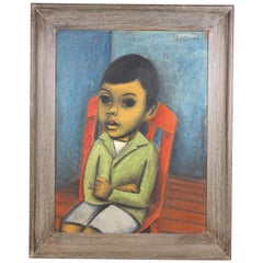 Juan De'Prey Modernist Oil Portrait Painting of a Young Boy on Chair