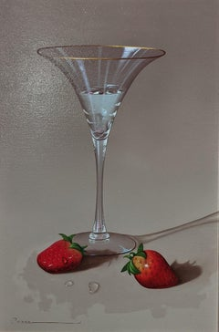 'Martini Glass with Strawberries' Contemporary photorealist still life painting
