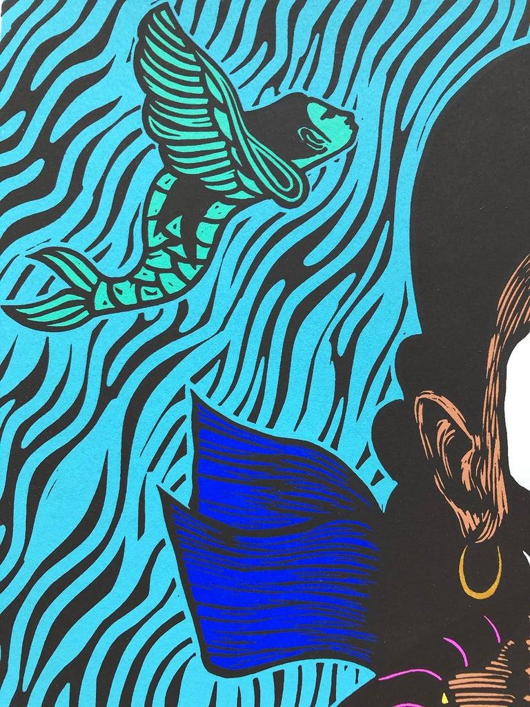Sueño de La Sierenas II (Mermaid's Dream) - Contemporary Print by Juan Fuentes