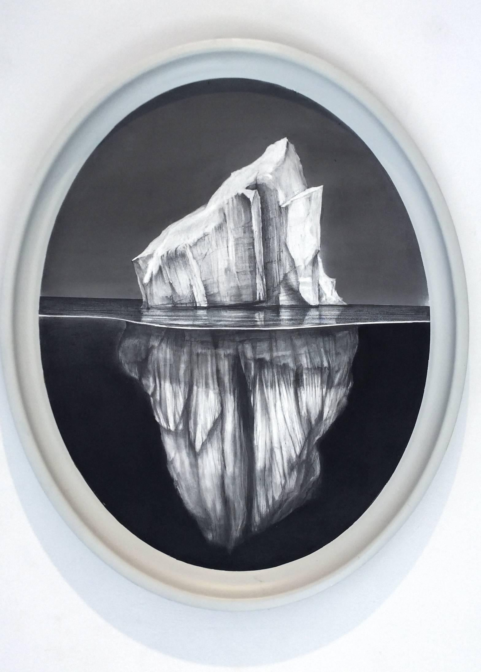 Iceberg #5 (Victorian -esque oval graphite Drawing of Iceberg on Aluminum)