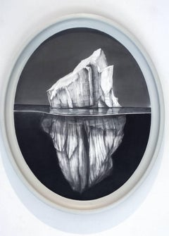 Iceberg #5 (Victorian -esque oval graphite Drawing of Iceberg on Aluminum)