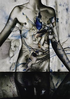 Dionisio I (Contemporary Watercolor Painting of Greek God in Blue and Gray)