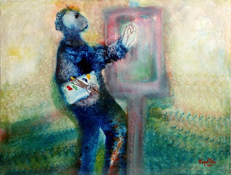 Juan Garcia Ripolles Abstract Painting - The Artist I, Oil Painting by Juan Garciá a Ripollés