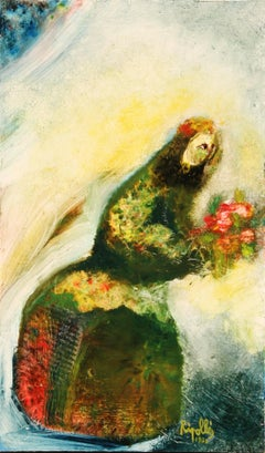 Woman with Flowers III, Oil Painting by Juan Garcia Ripolles