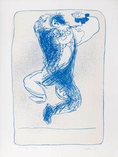 Harlequin Leaping, Lithograph by Juan Garcia Ripolles