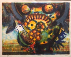 Spanish Modernist 'Paloma' Colorful Lithograph of a Bird