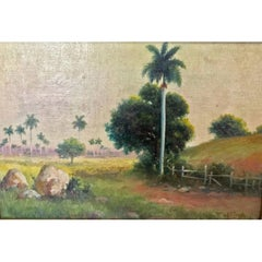 Juan Gil Garcia Landscape with Palms Oil on Canvas on Board