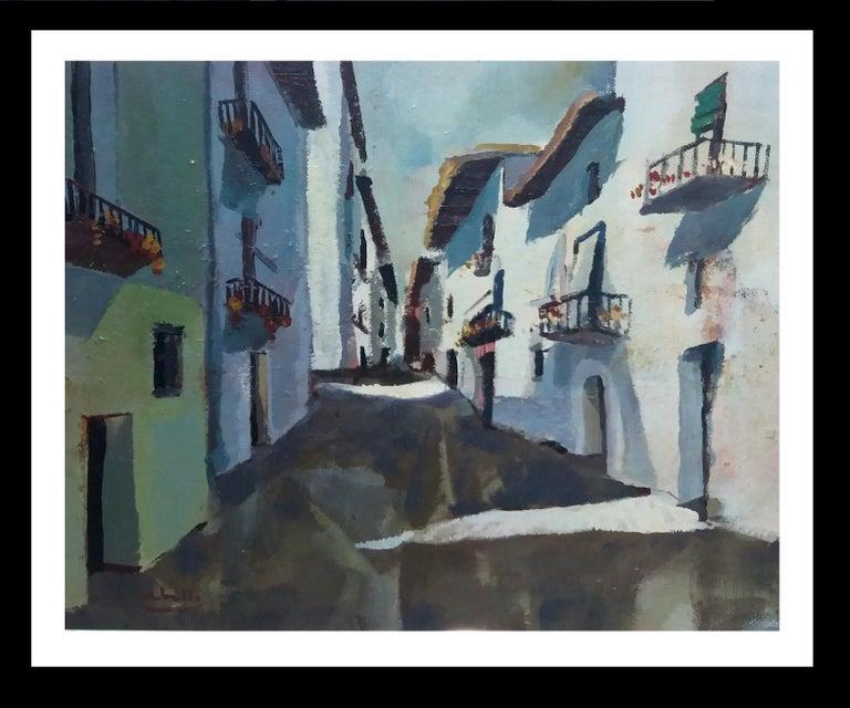 Abella. Original landscape cubist acrylic painting - Painting by Juan Jose Abella Rubio