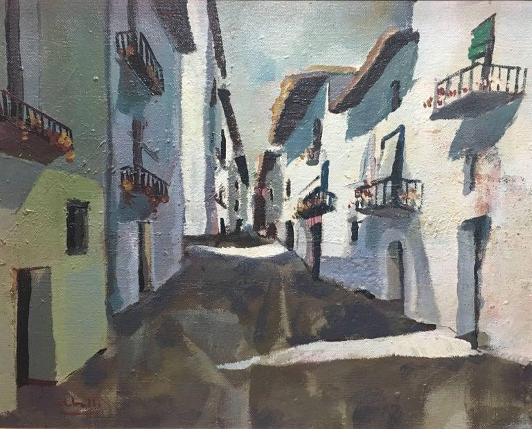 Abella. Original landscape cubist acrylic painting - Expressionist Painting by Juan Jose Abella Rubio