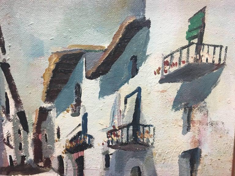Abella. Original landscape cubist acrylic painting - Brown Landscape Painting by Juan Jose Abella Rubio