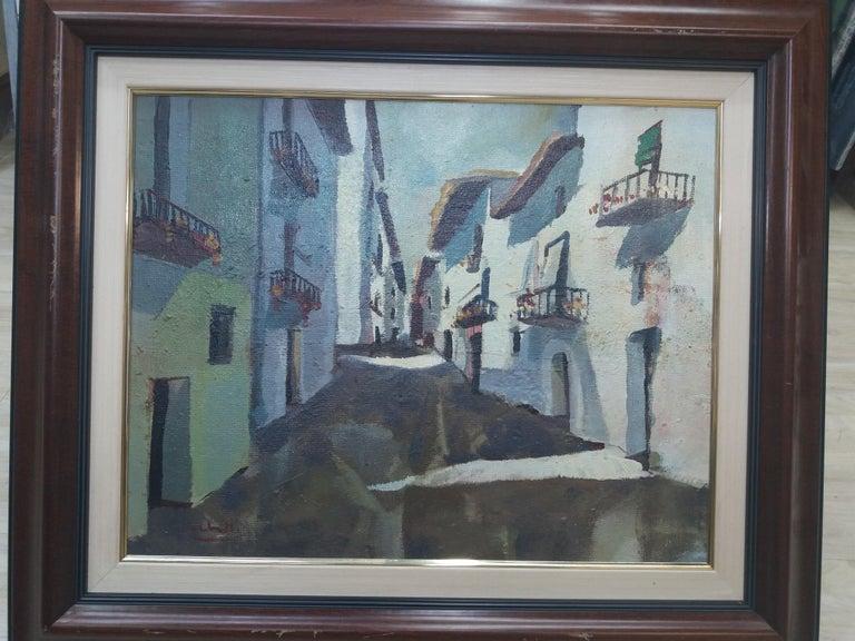 Abella. Original landscape cubist acrylic painting For Sale 3
