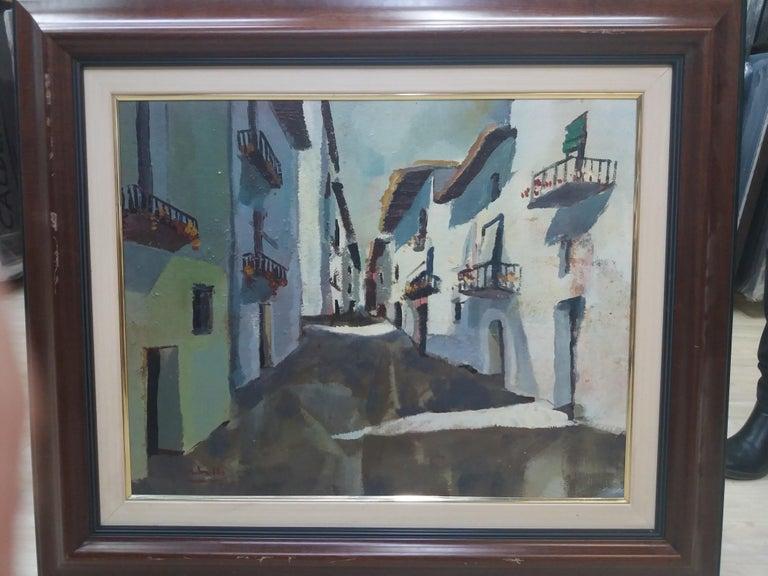 Abella. Original landscape cubist acrylic painting For Sale 4