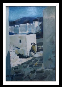 Abella. Original landscape cubist acrylic painting