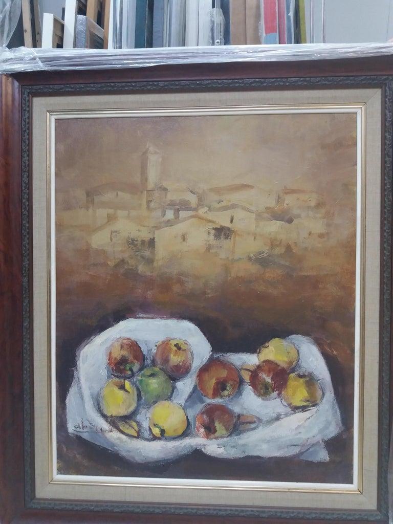 Abella original still life cubist acrylic painting - Painting by Juan Jose Abella Rubio