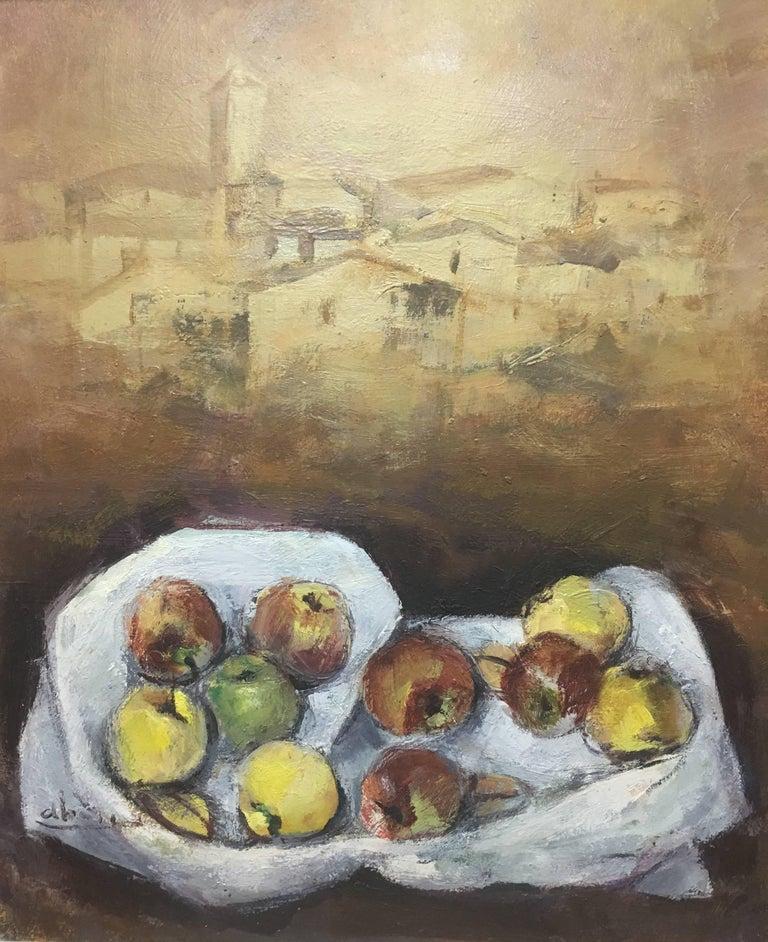 Abella original still life cubist acrylic painting - Cubist Painting by Juan Jose Abella Rubio