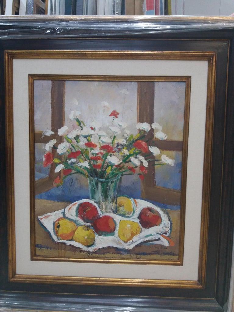 Abella original still life cubist acrylic painting For Sale 1