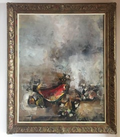 Abella. still lafe cubist original  acrylic canvas painting