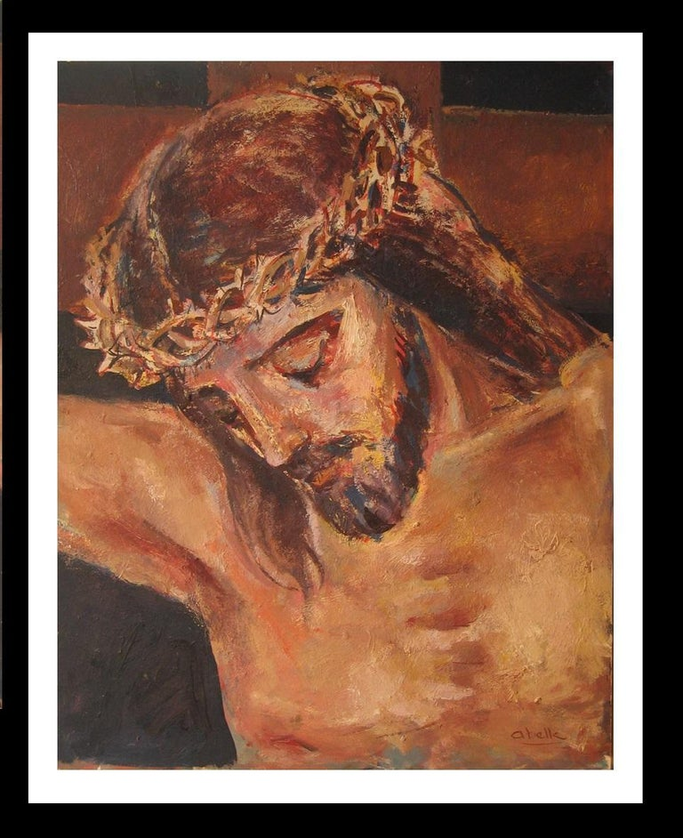 Jesus Christ religious theme.original acrylic painting - Painting by Juan Jose Abella Rubio