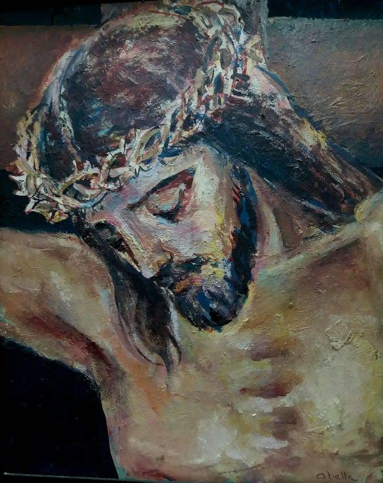 Jesus Christ religious theme.original acrylic painting - Black Figurative Painting by Juan Jose Abella Rubio