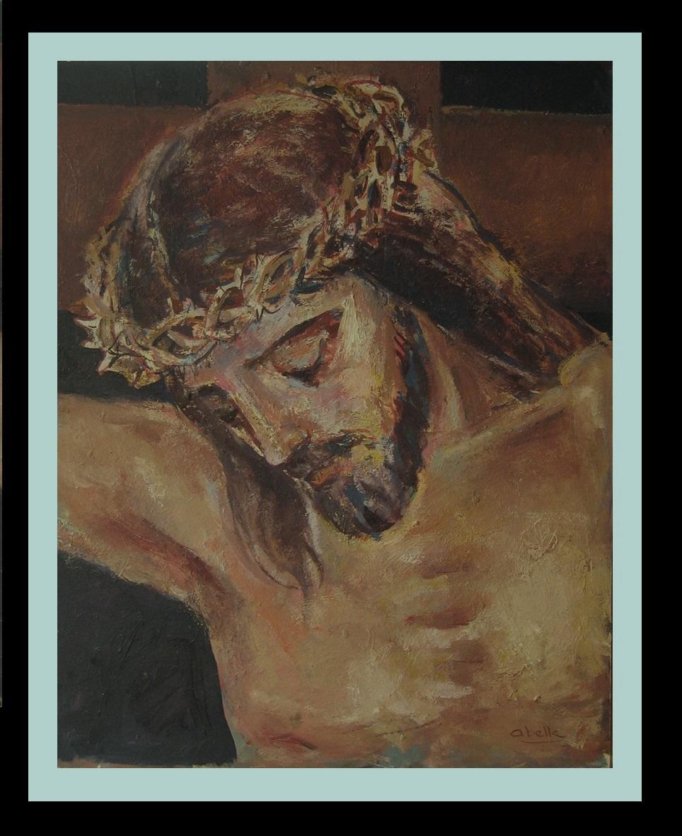 Jesus Christ religious theme.original acrylic painting