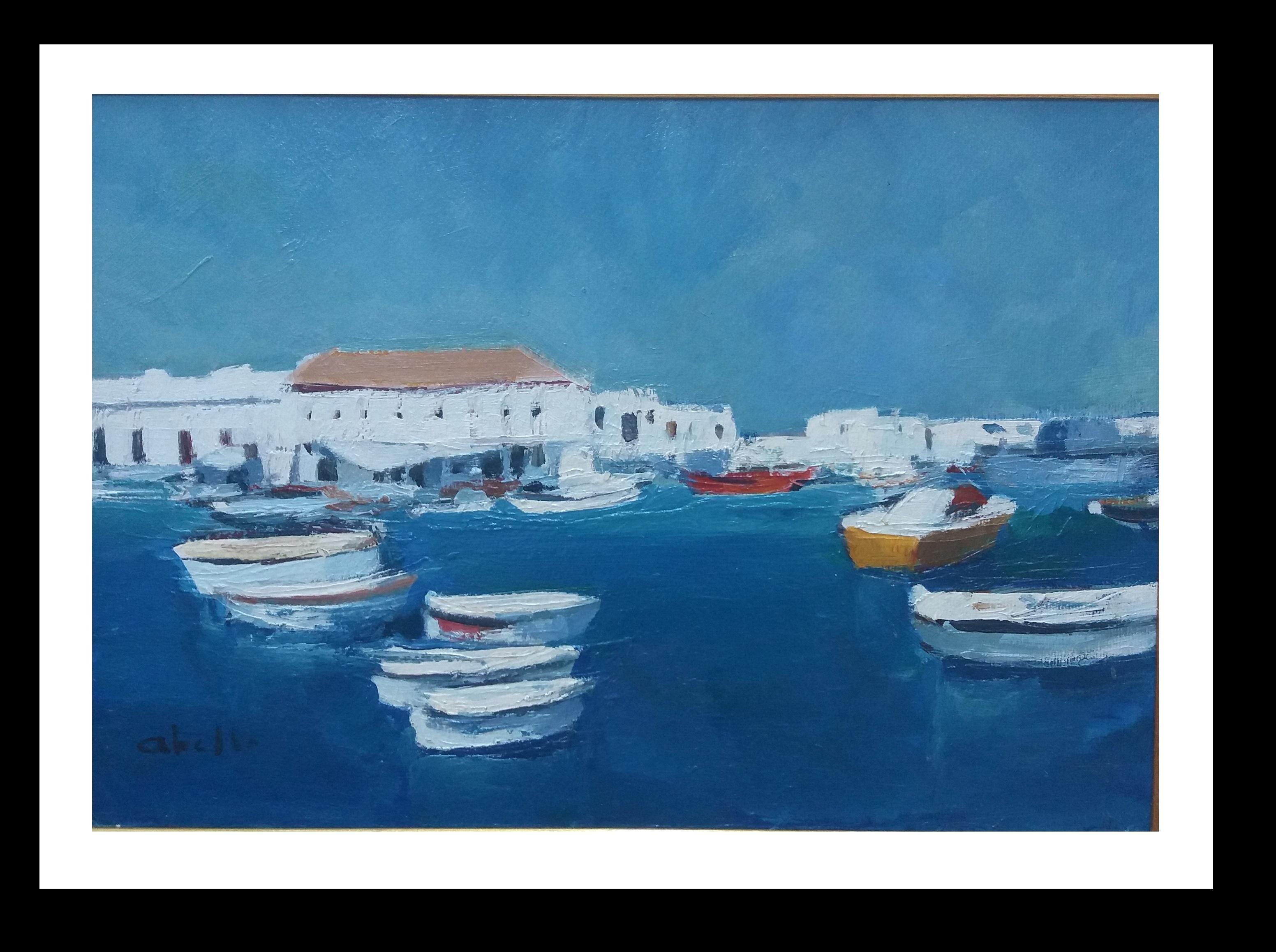 Marine Menorca Original cubist acrylic  Painting