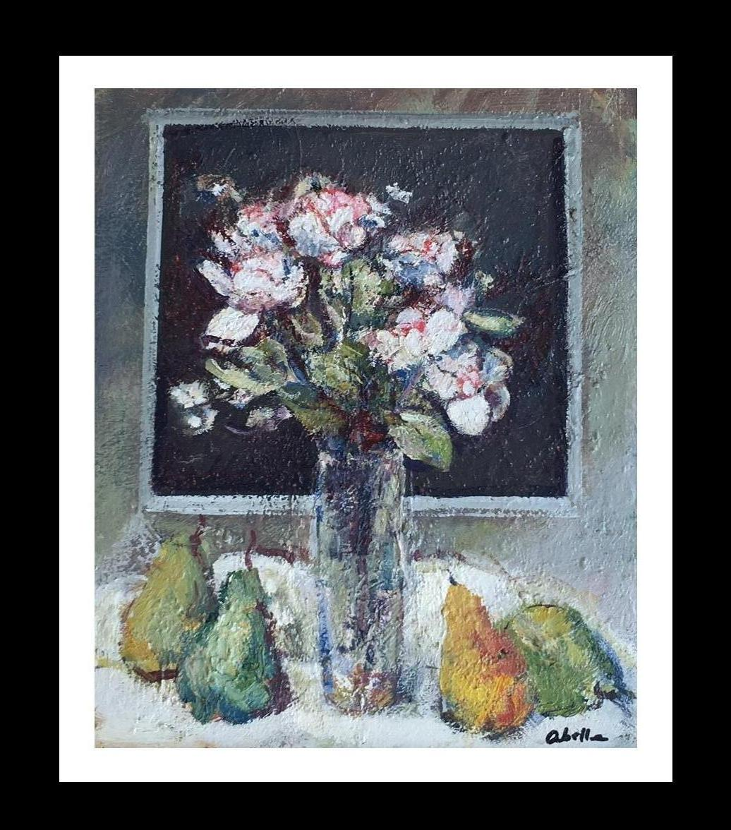 """NATURA MORTE"" 1975- Abella- Original-Oil canvas- still life PAINTING"